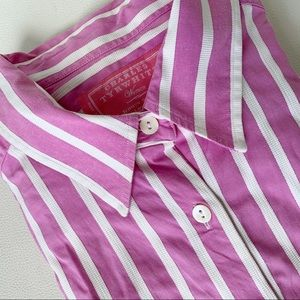 CHARLES TRYWHITT Pink White Striped Fitted Shirt